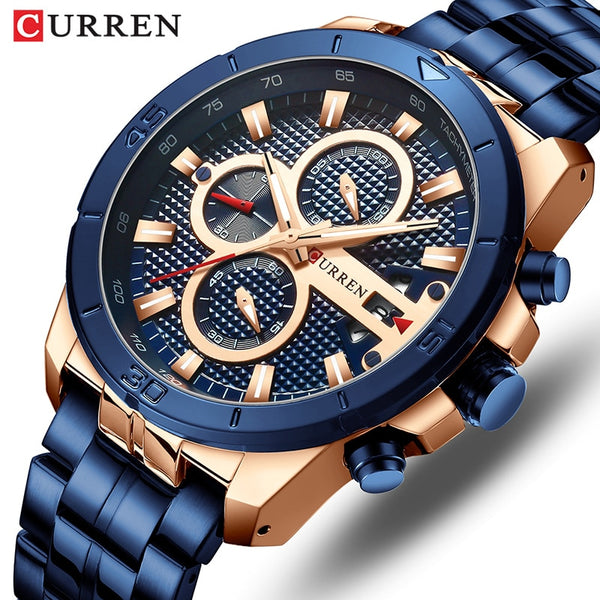 CURREN Mens Watch Luxury Brand Stainless Steel Business Clock Chronograph Watches