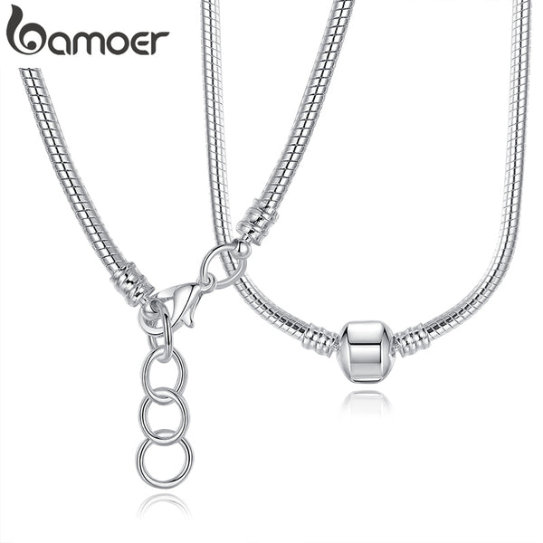 BAMOERSilver Color Charm  Snake Chain Silver Necklace 925 Original