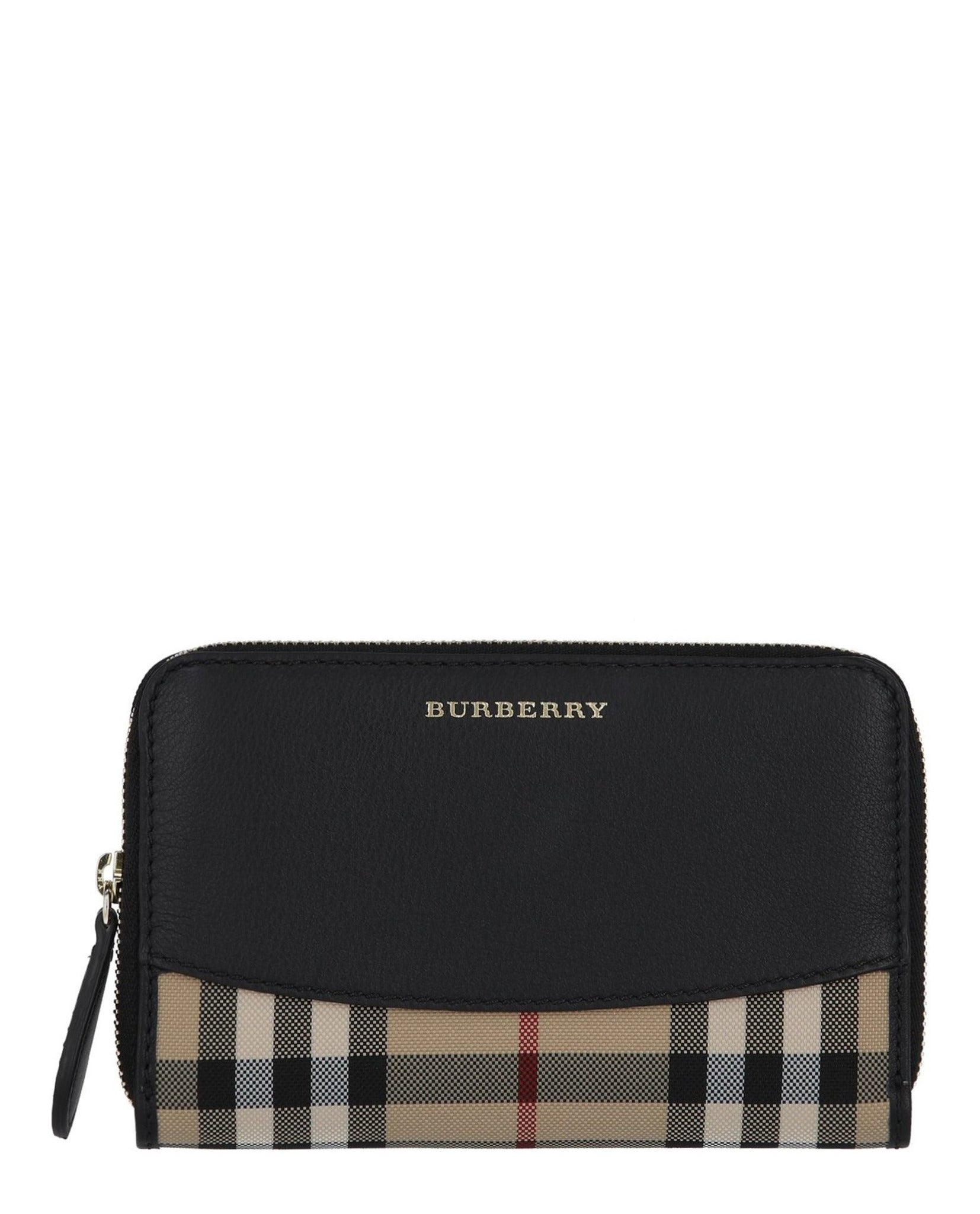 Burberry Horseferry Check and Leather Zip Around Wallet