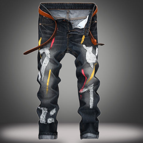 Color Zone - Men's Custom Painted Damaged Jeans - Signature By Shawn Broadnax