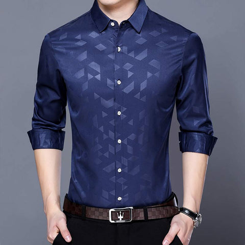 Men's argyle long sleeve slim fit shirt