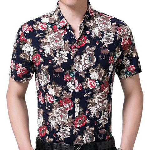 Men's short sleeve slim fit social dress shirt