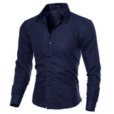 Cotton Mens Clothing Solid Soft Long Sleeve Shirt