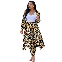 Leopard Print Women's 2 Piece Set - Elegant Long Cardigan Coat Top + Legging Pants
