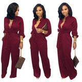 Solid Color Casual Jumpsuit