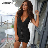 Articat V Neck Cross Bandage Dress