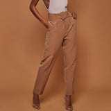 Women's High Waist Belt Casual Pants