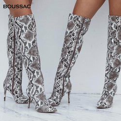 Snake Print Thigh High Boots