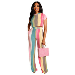 Color Striped Women's Two Piece Set