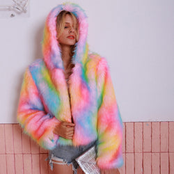 Women's Colorful Fur Hoodie