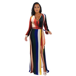 Women's Colorful Striped Maxi Dress