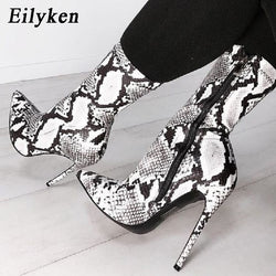 Women's Snake Print Zipper Ankle Boots