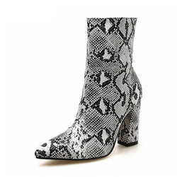 Women's Zipper Snake Print Ankle Boots