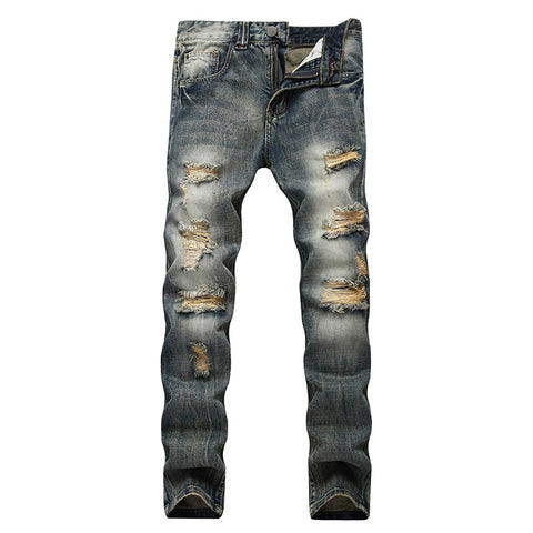 Men Dark Blue Ripped Jeans