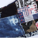 Men's colored patchwork denim jeans