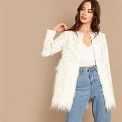Women's Solid Pearl Embellished Faux Fur Round Neck Jacket