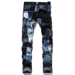 Men's 248 Patchwork Ripped Embroidered Stretch Denim