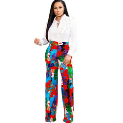 High Waist Bohemian Wide Leg Pants