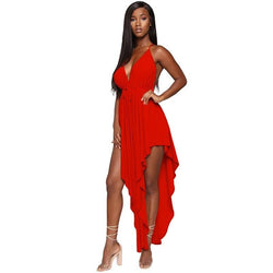 Women's Split Pleated V-neck Dress