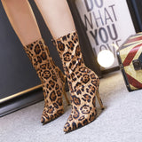Leopard Stretch Fabric Sock Boots