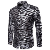 Men's Shiny Zebra Striped Club Shirt