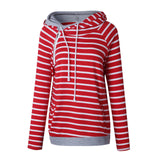 Women Patchwork Striped Pullover Hoody With Pockets