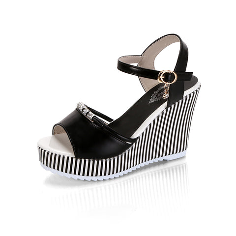 Summer Striped Platform Heels