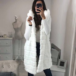 Women's Long Hooded Faux Fur Waistcoat
