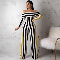 Off The Shoulder Striped Women's Jumpsuit