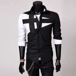 Men Long Sleeve Turndown Collar Shirt