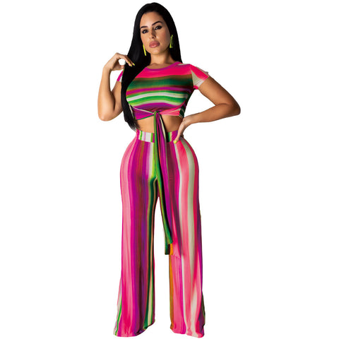 Women's Rainbow Striped Two Piece Set