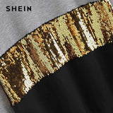 Contrast Cut and Sew Sequin Sweatshirt