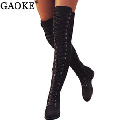 Lace Up Over Knee Women's Boots