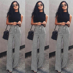Women's Striped Palazzo Wide Leg Pants