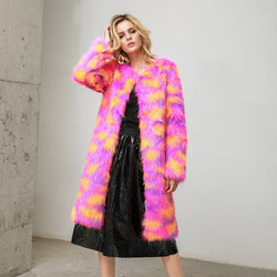 Women's Long Colorful Fur Coat