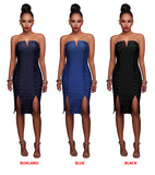 Flawless Denim - Elastic Lace Up Front, Deep V Neck, Off Shoulder Jeans Dress
