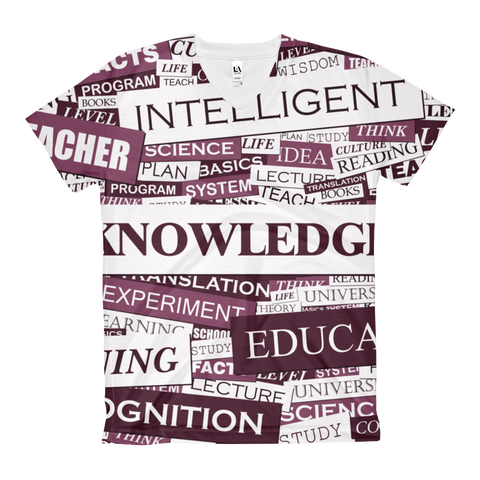 TRUE KNOWLEDGE - Women's V-Neck T-Shirt