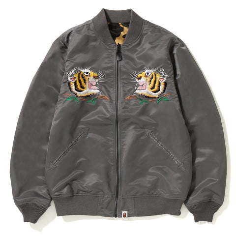 TIGER EMBROIDERY REVERSIBLE LIGHT BOMBER JACKET MENS