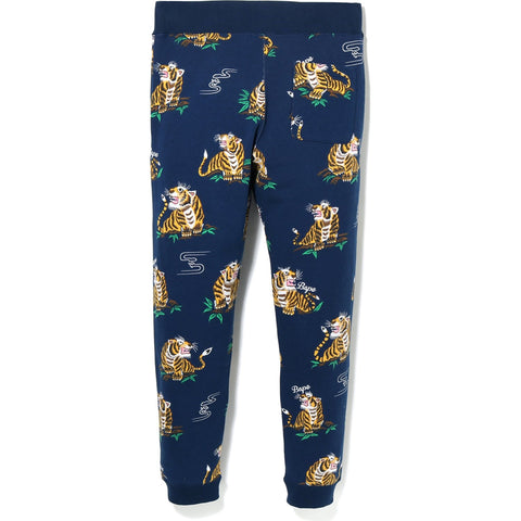 TIGER PATTERN SLIM SWEAT PANTS M