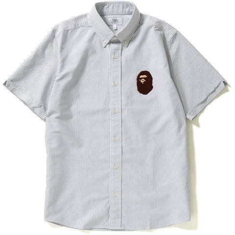 LARGE APE HEAD OXFORD STRIPE BD S/S SHIRT MENS