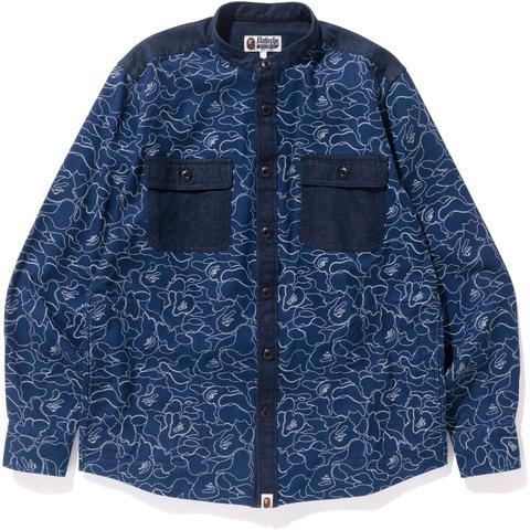 INDIGO BAND COLLAR SHIRT MENS