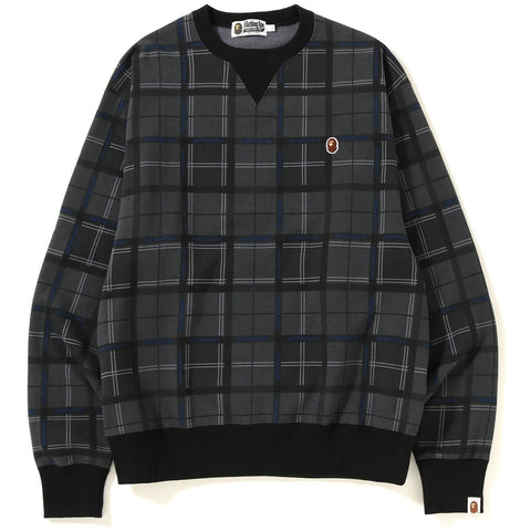 RELAXED BAPE LOGO CHECK CREWNECK MENS