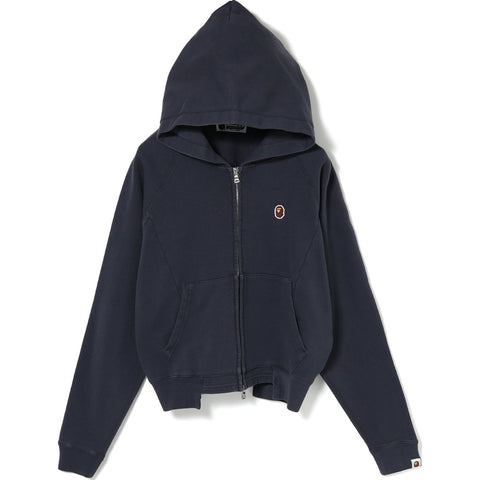 WASHED WIDE PANEL ZIP HOODIE L