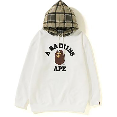 BAPE LOGO CHECK OVERSIZED HOODIE L