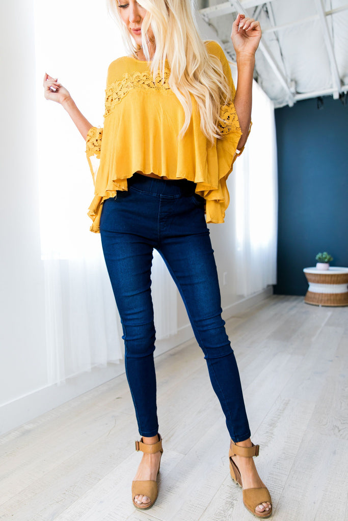 Easy Living Jeggings In Dark Wash - SHOPTHRIVER