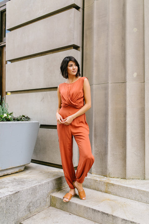 Exotic Bali Jumpsuit In Cayenne - SHOPTHRIVER