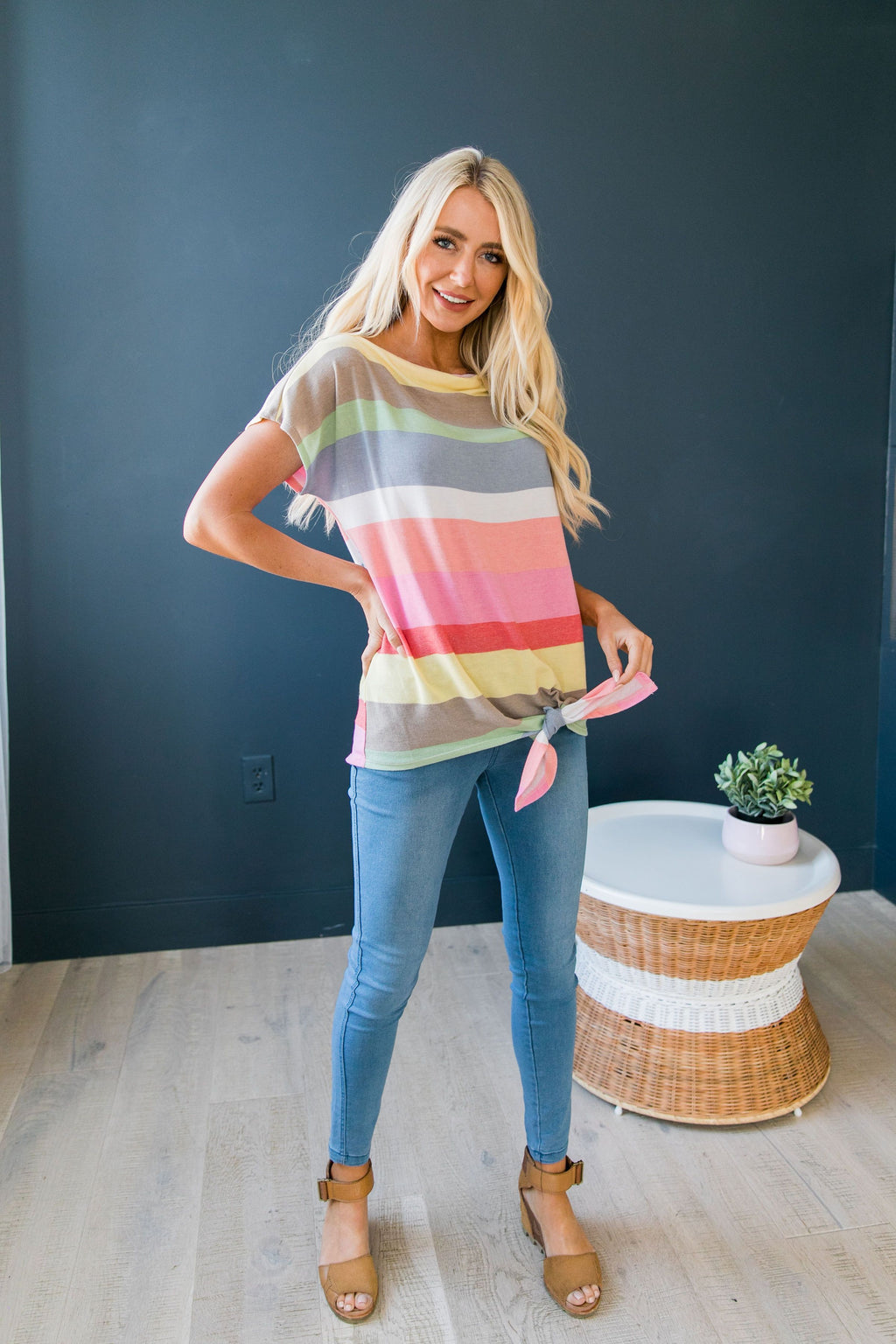 Pastel Rainbow Tie Front Top - SHOPTHRIVER