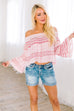 Striped Delight Off Shoulder Blouse - SHOPTHRIVER