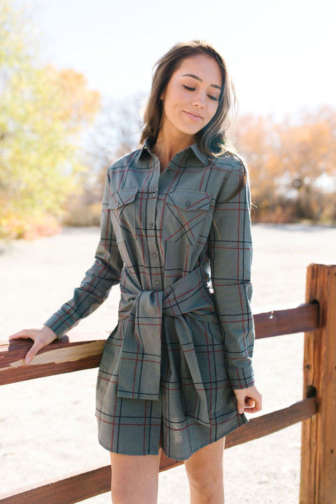 All Buttoned Up Plaid Shirt Dress - ALL SALES FINAL - SHOPTHRIVER