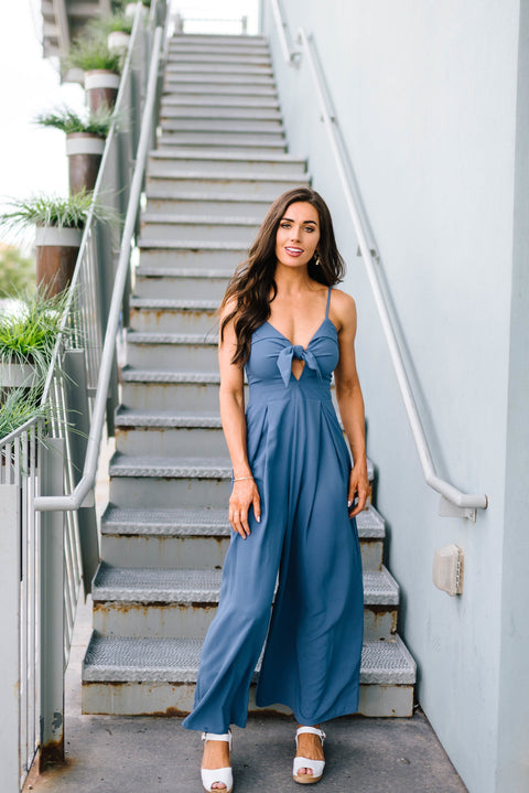Blue Bow Jumpsuit - SHOPTHRIVER